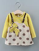 זול שמלות לתינוקות-שמלה שרוול ארוך מנוקד / פסים בנות תִינוֹק