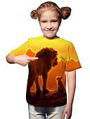 halpa Tyttöjen yläosat-Lapset Taapero Tyttöjen Aktiivinen Perus Geometrinen Painettu Painettu Lyhythihainen T-paita Keltainen