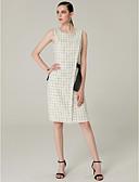 זול שמלות מקסי-מעטפת \ עמוד עם תכשיטים באורך  הברך כותנה / טוויד מסיבת קוקטייל שמלה עם פפיון(ים) על ידי TS Couture®