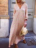hesapli Maksi Elbiseler-Kadın's Tunik Elbise - Geometrik Maksi