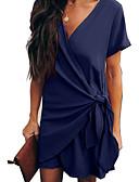 hesapli Mini Elbiseler-Kadın's Zarif Şifon Elbise - Solid, Kırk Yama Diz üstü