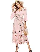 hesapli Print Dresses-Kadın's Temel A Şekilli Elbise - Çiçekli, Desen Midi
