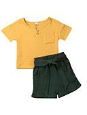 זול חולצות לתינוקות-סט של בגדים שרוולים קצרים טלאים בנות תִינוֹק