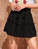 hesapli Kadın Etekleri-Kadın's Seksi Mini A Şekilli Etekler - Solid Büzgülü Beyaz Siyah Tek Boyut