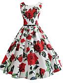 זול מלכת הוינטאג'-מעל הברך דפוס, גיאומטרי - שמלה טוניקה וינטאג' בגדי ריקוד נשים