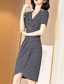 hesapli Kadın Elbiseleri-Kadın's Temel Kombinezon Kılıf Elbise - Çizgili Çiçekli Asimetrik