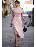 hesapli Romantik Dantel-Kadın's Temel Salaş Kılıf Elbise - Solid Bisiklet Yaka Asimetrik Gül kurusu