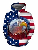 cheap Men's Hoodies & Sweatshirts-Men's Casual Hoodie - 3D Blue US42 / UK42 / EU50