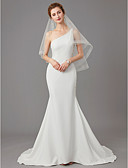 povoljno Vjenčanice-Sirena kroj Na jedno rame Srednji šlep Žersej Izrađene su mjere za vjenčanja s Perlica / Biserni detalji po LAN TING BRIDE®