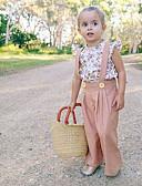 זול אוברולים טריים לתינוקות לבנים-סט של בגדים שרוולים קצרים פרחוני בסיסי בנות ילדים