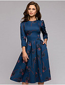 hesapli Print Dresses-Kadın's Boho Çan Elbise - Geometrik Diz-boyu