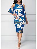 billige Kjoler med trykk-Dame Elegant Kroppstett Kjole Kjole - Blomstret, Trykt mønster Midi Hvit