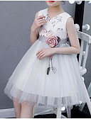 זול שמלות לילדות פרחים-נסיכה באורך  הברך שמלה לנערת הפרחים  - פוליאסטר / טול ללא שרוולים צווארון V עם אפליקציות / ריקמה / חגורה על ידי LAN TING Express