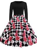 hesapli Kadın Elbiseleri-Kadın's Vintage A Şekilli Elbise - Geometrik, Desen Diz-boyu