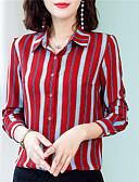 hesapli Tişört-Kadın's Gömlek Yaka Gömlek Desen, Çizgili Temel Çalışma Havuz