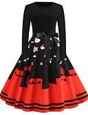povoljno Vintage kraljica-Žene Boho Ulični šik Little Black Haljina - Vezanje straga Print, Cvjetni print Midi Djed Mraz