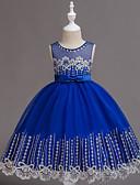 זול שמלות לילדות פרחים-נסיכה באורך הקרסול שמלה לנערת הפרחים  - פוליאסטר / שיפון / תחרה ללא שרוולים עם תכשיטים עם פרטים מקריסטל / תחרה / חגורה על ידי LAN TING Express
