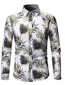hesapli Erkek Gömlekleri-Erkek Dik Yaka Gömlek Çiçekli AB / ABD Beden Gökküşağı / Uzun Kollu