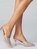 cheap Women's Coats & Trench Coats-Women's Mesh Summer Casual / Minimalism Clogs & Mules Kitten Heel Pointed Toe Black / Silver / Pink