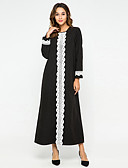 hesapli Maksi Elbiseler-Kadın's Temel Abaya Kaftan Elbise - Zıt Renkli, Dantel Kırk Yama Maksi