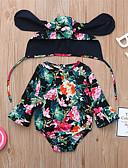 זול אוברולים טריים לתינוקות-חליפת גוף שרוול ארוך פרחוני / גיאומטרי / דפוס בנות תִינוֹק 2pcs