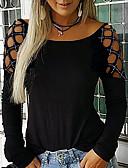 povoljno Ženske majice s kapuljačama i trenirke-Majica s rukavima Žene Dnevni Nosite Jednobojni Crn