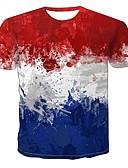 hesapli Erkek Tişörtleri ve Atletleri-Erkek Yuvarlak Yaka Tişört 3D AB / ABD Beden YAKUT / Kısa Kollu