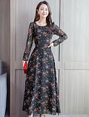 abordables Robes Imprimées-Femme Maxi Balançoire Robe Fleur Noir Jaune Rouge M L XL Demi Manches