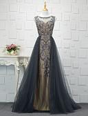 preiswerte Abendkleider-A-Linie Bateau Hof Schleppe Tüll Formeller Abend Kleid mit durch LAN TING Express