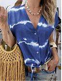 povoljno Majica s rukavima-Veći konfekcijski brojevi Bluza Žene - Boho Kauzalni / Plus veličine Kravata V izrez Kolaž / Print žuta