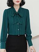 hesapli Tişört-Kadın's V Yaka / Gömlek Yaka Gömlek Fiyonklar, Çizgili Çin Stili Dışarı Çıkma Yonca