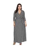 hesapli Büyük Beden Elbiseleri-Kadın's A Şekilli Elbise - Zıt Renkli Soyut, Wrap Maksi