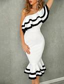 hesapli Mini Elbiseler-Kadın's Zarif Soğuk omuz Trompet / Balık Elbise - Solid, Fırfırlı Tek Omuz Midi
