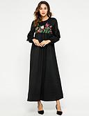 hesapli Kadın Elbiseleri-Kadın's Temel Abaya Kaftan Elbise - Solid Çiçekli, Nakış Maksi