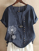 hesapli Tişört-Kadın's Pamuklu Tişört Çiçekli Mor
