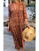 hesapli Maksi Elbiseler-Kadın's Sokak Şıklığı Kombinezon Elbise - Geometrik, Desen Derin V Maksi / Salaş