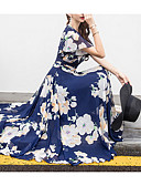 ieftine Rochii Maxi-Pentru femei Mărime Plus Size Concediu Plajă Șifon Swing Rochie - Imprimeu, Floral În V Midi