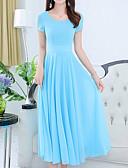 hesapli Print Dresses-Kadın's A Şekilli Elbise - Solid U Yaka Midi