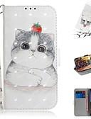 hesapli Cep Telefonu Kılıfları-google piksel 3a xl / google piksel 3a cüzdan / kart sahibinin / darbeye dayanıklı tam vücut kılıfları güzel kedi pu deri