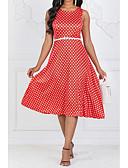 halpa Vintage-kuningatar-Naisten Bile Vintage 1950-luku A-linja Mekko - Polka Dot Midi