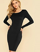 hesapli Maksi Elbiseler-Kadın's Kılıf Elbise - Solid Diz üstü