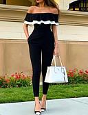 povoljno Ženski jednodijelni kostimi-Žene Crn Jumpsuits, Jednobojni Nabori M L XL