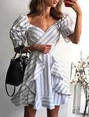 hesapli Mini Elbiseler-Kadın's Zarif A Şekilli Elbise - Çizgili, Desen Diz üstü