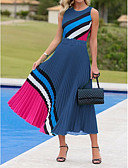 hesapli Print Dresses-Kadın's A Şekilli Elbise - Zıt Renkli Midi