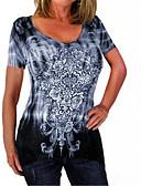 billige T-skjorter til damer-Bomull Store størrelser T-skjorte Dame - Batikkfarget, Blonde / Lapper / Trykt mønster Grunnleggende Blå