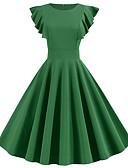 halpa Vintage-kuningatar-Naisten Vintage A-linja Mekko - Yhtenäinen Polvipituinen