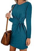 hesapli Romantik Dantel-Kadın's Temel Zarif Kılıf Elbise - Solid, Bağcık Kırk Yama Diz üstü
