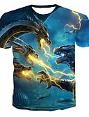 hesapli Erkek Tişörtleri ve Atletleri-Erkek Pamuklu Yuvarlak Yaka Tişört Desen, Geometrik / 3D Punk ve Gotik Havuz / Kısa Kollu