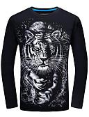 Недорогие Мужские футболки и майки-Муж. С принтом Футболка Уличный стиль 3D / Животное Черный US44 / UK44 / EU52