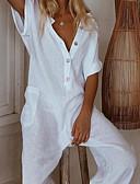 hesapli Kadın Tulumları-Kadın's sofistike Siyah Şarap Beyaz Geniş Bacak Tulum, Solid Kırk Yama S M L Pamuklu